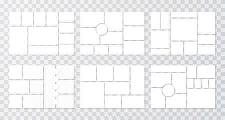 Moodboard template. Collage grids. Mood board background. Vector. Set mosaic frames. Photomontage pictures layout. Poster design. Branding presentation. Horizontal mockup. Simple illustration