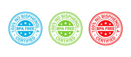 BPA free stamp. No bisphenol icon. Non toxic plastic round badge, label. Certified seal imprint for eco package. Retro emblem. Vector illustration. Waste marks isolated on white background