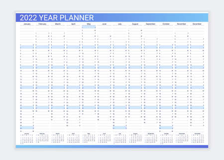 Calendar planner for 2022 year. Desk calendar grid. Annual daily organizer template. Agenda diary. Week starts Sunday. Schedule page with 12 month in English. Vector illustration in simple design.