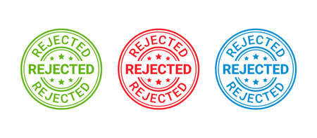 Rejected rubber stamp. Round sticker reject. Denied permit badge, label. Negative decision mark. Red, blue, green seal imprint. Retro circular emblem isolated on white background. Vector illustration.