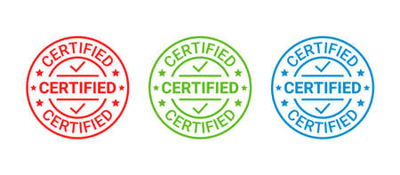 Certified rubber stamp. Vector. Quality mark approval. Checked retro badge. Warranty label, icon. Endorsed round sticker. Vintage seal imprints. Emblems isolated on white background. Illustration Illustration