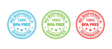 BPA free stamp. No bisphenol icon, badge. Non toxic plastic round label. Certified seal imprint for eco package. Waste marks isolated on white background. Vector illustration. Retro emblem.