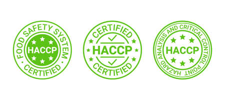 HACCP certified stamp. Food safety system round emblem. Hazard analysis and Critical Control Points seal imprint. Quality warranty marks. Set icons isolated on white background. Vector illustration.