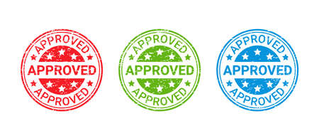 Approved grunge stamp. Vector. Approval badge. Accepted round ink sticker. Retro seal imprint. Confirm certificate label. Circle shape emblems isolated on white background. Simple illustration