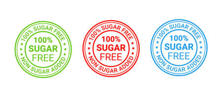 Sugar free round stamp, icon. No sugar added label. Diabetic rubber badge. Certified sticker,mark. Green red blue seal imprints isolated. Emblem for packaging on white background. Vector illustration