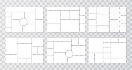 Collage template. Moodboard grids. Mood board background. Vector. Set mosaic frames. Photomontage pictures layout. Poster design. Branding presentation. Horizontal mockup. Simple illustration.