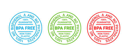 BPA free icon stamp. No bisphenol badge. Non toxic plastic round label. Guarantee seal imprint for eco package. Waste marks isolated on white background. Vector illustration. Retro emblem.