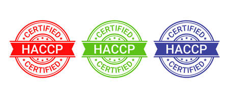 HACCP food safety system stamp, badge. Hazard analysis Critical Control Points icon. Certified round label. Quality warranty emblem. Set seal imprints isolated on white background. Vector illustration Illustration