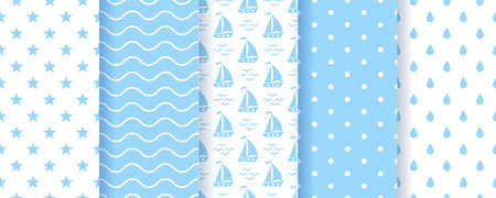 Baby boy backgrounds. Pastel seamless pattern. Cute blue geometric textures. Childish prints with polka dot, stars, waves, boats and drops. Set of sea monochrome kids backdrops. Vector illustration Illustration