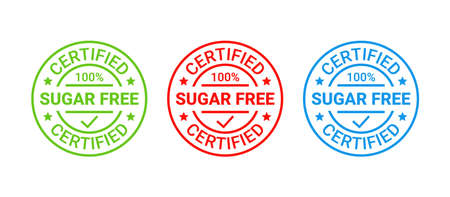 Sugar free icon, round stamp. No sugar added label. Certified sticker, emblem. Diabetic badge. Green red blue seal imprints isolated. Emblem for packaging on white background. Vector illustration