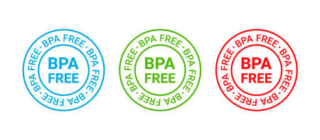 BPA free icon stamp. Non toxic plastic round label. No bisphenol badge. Seal imprint for eco package. Waste marks isolated on white background. Vector illustration. Retro green blue red emblem. Illustration