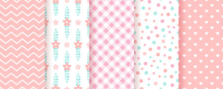 Baby girl backgrounds. Pastel seamless pattern. Cute pink geometric textures. Childish prints with zigzag, flowers, hearts, circles and plaid. Set of kids backdrops. Vector illustration