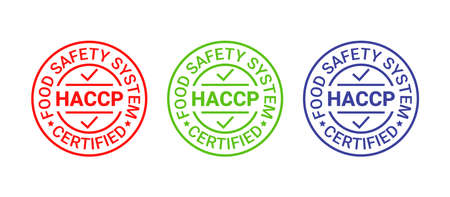 HACCP Hazard Analysis Critical Control Points icon. Food safety system stamp, badge. Certified round label. Quality warranty emblem. Set seal imprints isolated on white background. Vector illustration