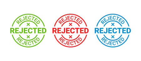 Rejected stamp. Round badge reject. Denied permit sticker, label. Negative decision mark. Red, blue, green seal imprint. Retro circular emblem isolated on white background. Vector illustration. Illustration