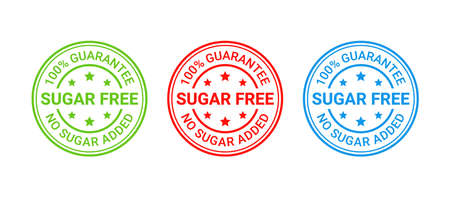 Sugar free stamp icon. No sugar added round badge. Diabetic label. Green, red and blue seal imprints isolated on white background. Emblem for package product. Vector illustration. Flat design.