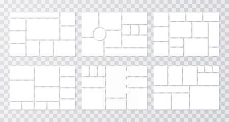 Moodboard grid. Collage templates. Mood board background. Vector. Photomontage pictures layout. Album design. Set mosaic frames. Branding presentation. Horizontal mockup. Simple illustration.