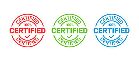 Certified round stamp. Vector. Quality mark approval. Checked retro badge. Warranty label, icon. Vintage seal imprints. Endorsed sticker. Emblems isolated on white background. Illustration Illustration