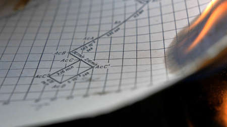 Burning Old Sheet of Paper with Physics Graphs and Formulas