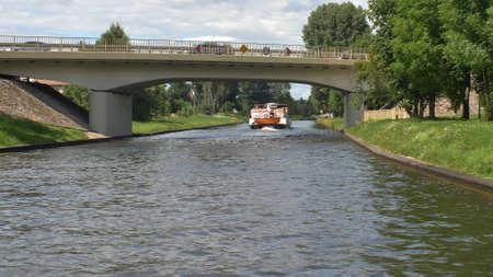 Passenger Ship Going Through Canal POV