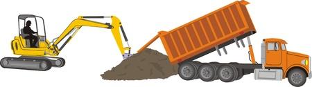 volteo: excavación y movimiento de tierras Vectores