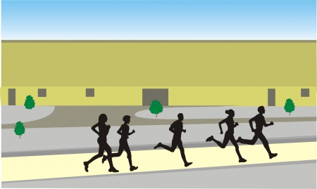 running in the town Illustration