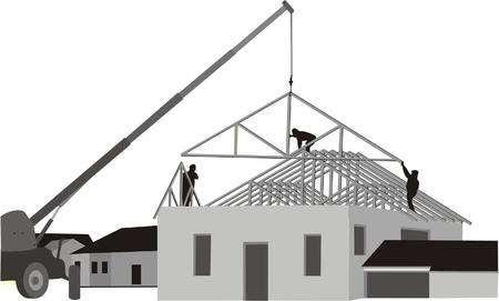 2 つの建物の家  イラスト・ベクター素材