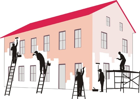renovation house: PAINTERS AT WORK Illustration