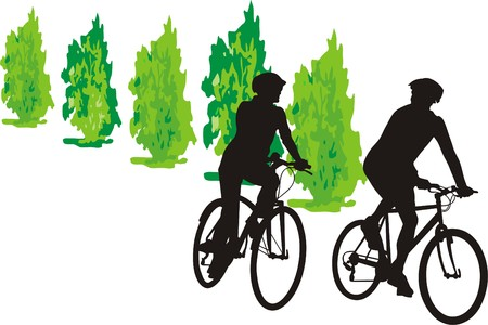 hiking: TWO CYCLISTS