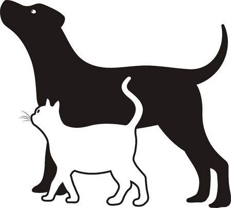dog outline: cat and dog