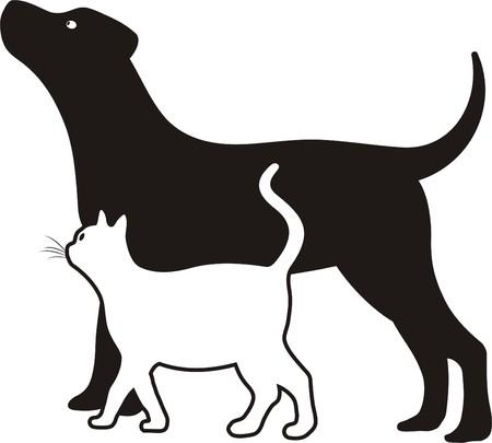 silueta de gato: gato y perro Vectores