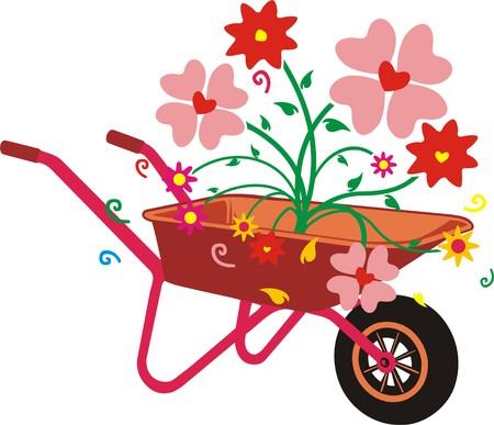 WHEELBARROW OF FLOWERS Illustration