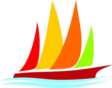 three masted: Yacht Illustration