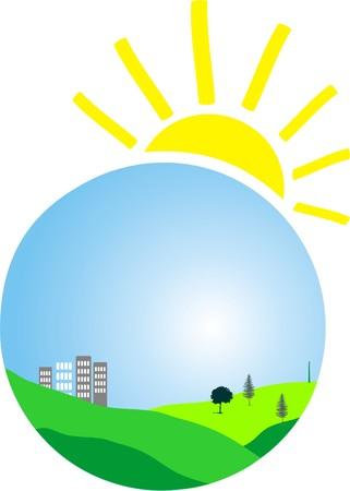grass plot: SUN AND HEART Illustration