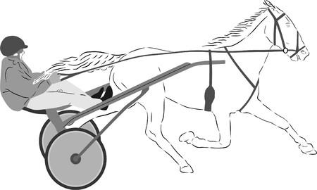 horse cart: HORSE RACE Illustration