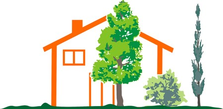 tree service business: HOUSE IN THE WOODS