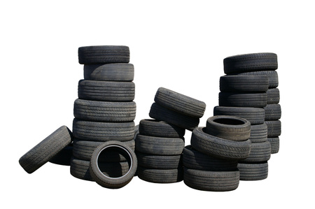 Used tires isolated on white background