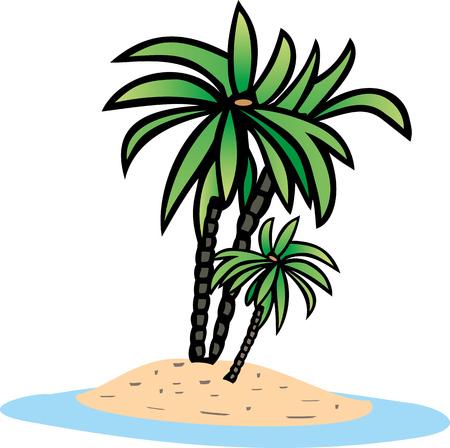 holliday: PALM TREE on the island Illustration