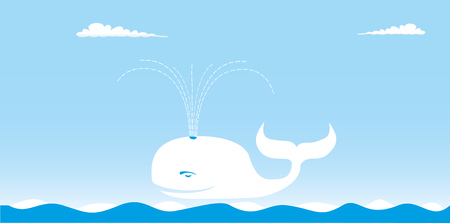 WHALE AND THE SEA Illustration