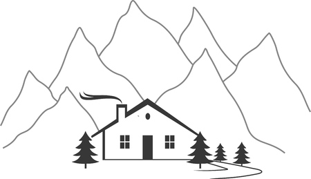 chalet: CHALET AND MOUNTAIN.