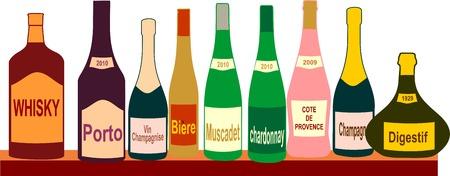 Botellas aisladas sobre fondo blanco, ilustración vectorial.