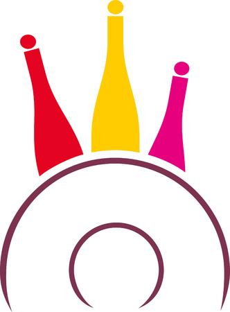 Decoratieve kleurrijke wijnflessen met plaat als voedsel en drank symbool. Stock Illustratie