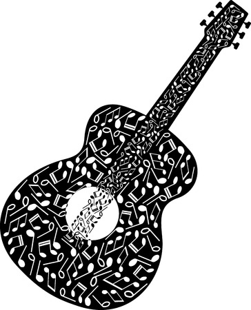 GUITAR SHAPED BY MUSICAL NOTES