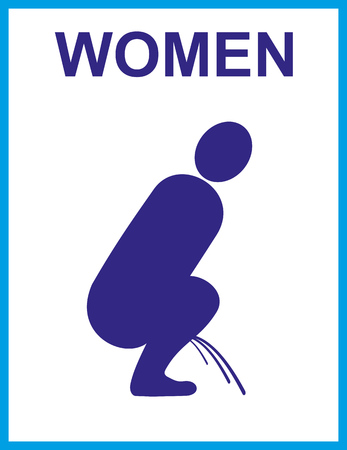 Urinal sign; restroom icon for women in silhouette illustration.