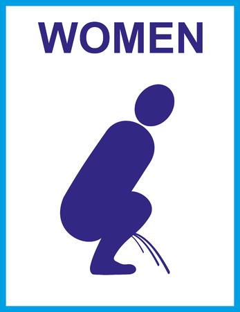 Urinal Zeichen; Toilettenikone für Frauen in der Schattenbildillustration. Standard-Bild - 91085778
