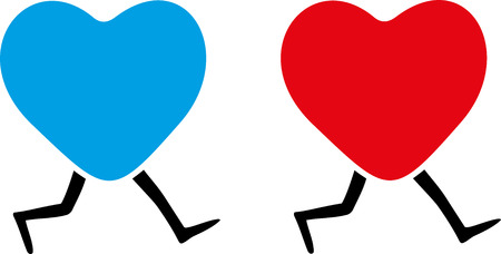 Blue and red  hearts with legs.
