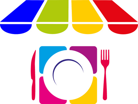 Colorful set of plate, fork and knife for lunch or dinner.