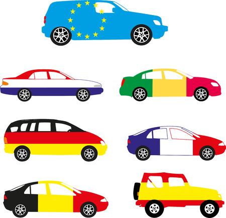 Europe flag in the car design. Illusztráció