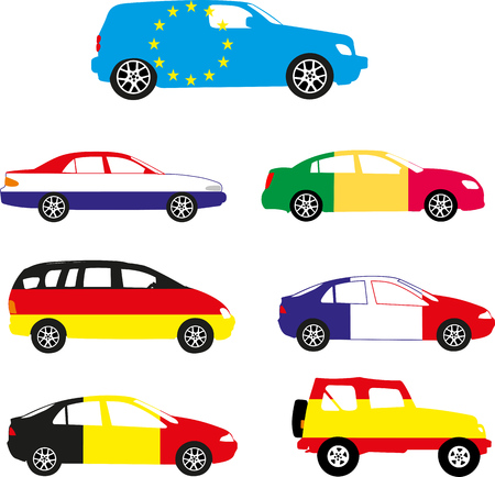 Europe flag in the car design. Illustration