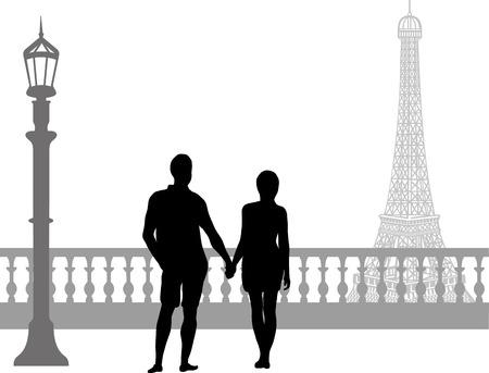 Sentimental walk of two people Illustration