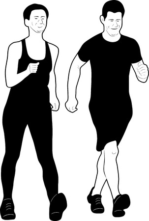 Two sport men running a race vector illustration.